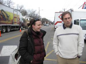 Line producer Katie and Jerry with production trucks in Rockaway Beach